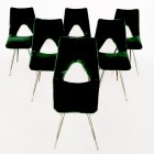 Italian beautiful  velvet chairs from the 50′s