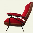 Couple of Italian  MidCectury Red inclinable  Armchairs