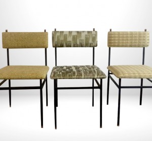 Italian Industrial set of dining chairs with fabric by Dedar