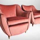 Italian Midcentury Set of Pink velvet Armchairs