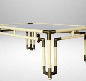 Italian 70′s coffè table with brass details  by Bonci Florence
