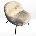 Fritz Neth Arm chair  white synthetic Fur designed in 1955