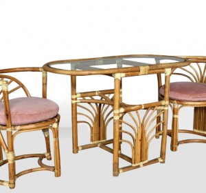 Italian pink set in rattan from the 60′s