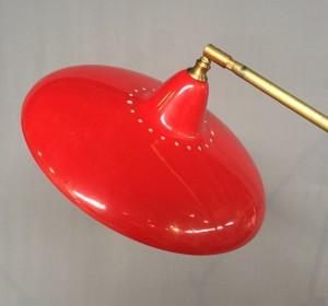Italian Red  Floor Lamp in the manner of Stilnovo