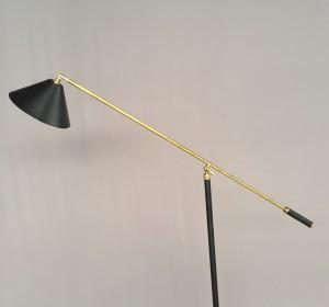 Italian Black  Artigianal Floor Lamp in the manner of Stilnovo-New