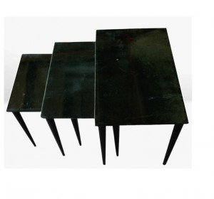 Aldo Tura set of nesting small emerald green tables