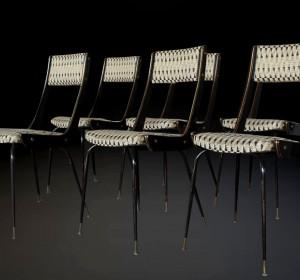 Set of six Midcentury Italian elegant chairs