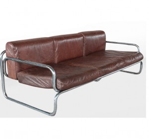 Stunning Italian  leather and metal  sofà from the 60′s