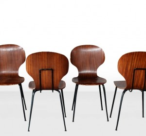 Italian Midcentury wood set  of chairs by  Carlo Ratti