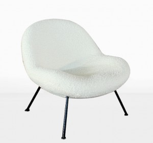 "Fritz Neth ""Egg"" lounge chair reupholstered with Pierre Frey white wool"