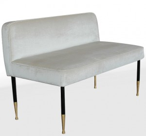 Midcentury Italian cream velvet long stool
