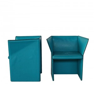 Italian  couple of leather armchairs from the 70′S