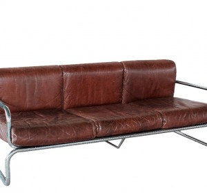 Brown leather and metal sofà from the 70′s