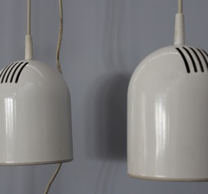 Couple of white hanging lamps from the 70′s