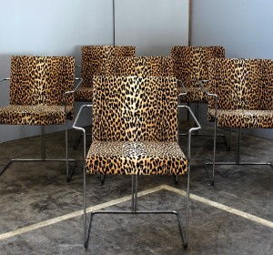 Italian set of  tubular chairs in  Leopard tapestry by Saporiti