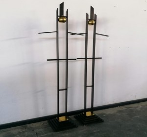 Italian unique Midcentury set  of valet stand -sculptures in metal and brass