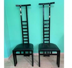 Italian black high seatback   chairs ,1970