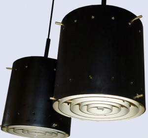 Ceiling  black couple of industrial italian lamps