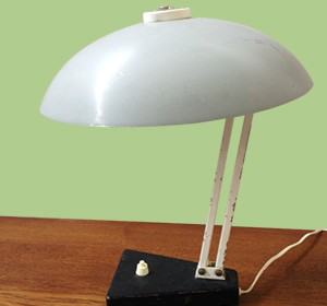 Metal light gray and white table lamp from 1950