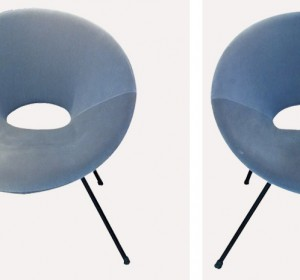 Italian decorative round arm chairs in the manner of A.Bozzi