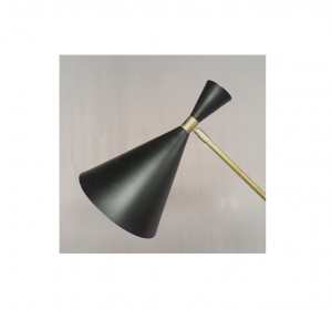 Italian Black cone  artigianal Floor Lamp in the manner of Stilnovo-New