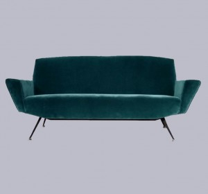 Italian Lovely Velvet Sofa from the 50′s