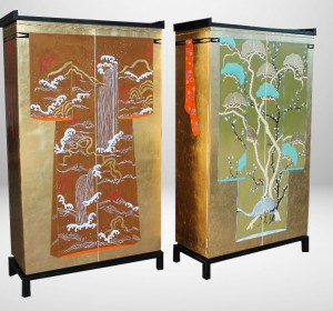 Italian Midcentury  Oriental Golden Leaf Wardrobes
