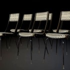 Set of six Midcentury Italian elegant chairs