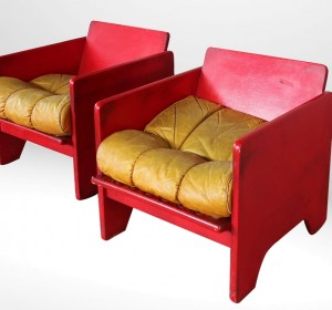 Italian stunning Red couple of Arm chairs BY POLTRONOVA