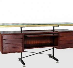 Italian midcentury  incredible credenza /desk with brass details