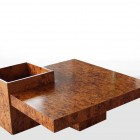 Italian coffee table in walnut in the manner of Willi Rizzo