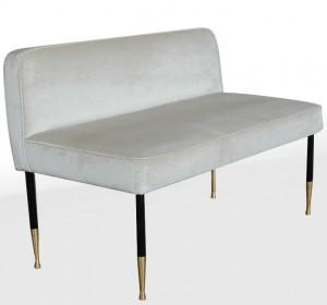 Midcentury Italian cream velvet long stool