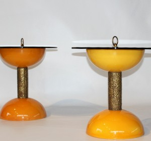 Italian resin pair of Bronze, Yellow  small side tables/bed side tables/