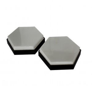Italian midcentury industrial hexagonal wall lamps