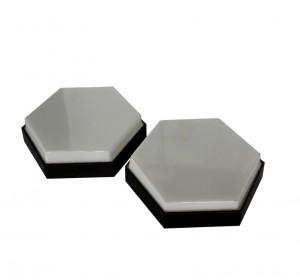 Italian midcentury industrial hexagonal wall lamps