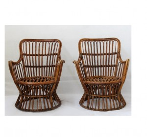 Italian midcentury rattan set of small armchairs