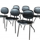 Italian industrial set of black chairs by M.I.M