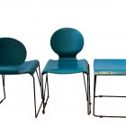 Set of three turquoise  wood chairs from the 70′s