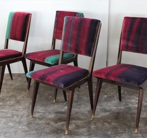 Set of  Ico Parisi's chairs in multicolored velvet