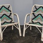 Couple of white bambù garden armchairs from the 60′s