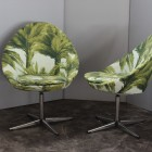 Palms swivel armchairs with original tapestry by Pierre Frey