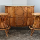 Italian midcentury Rattan Bar set from the 60′s