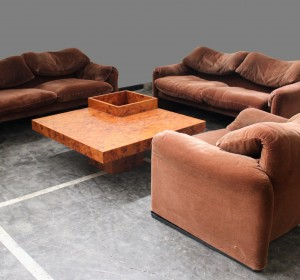 Italian Maralunga set of  two sofà's plus one armchair by Vico Magistretti-Cassina