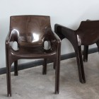 Vico Magistretti -Gaudi couple of  brown armchairs by Artemide