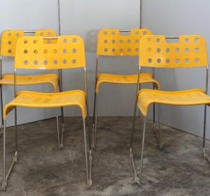 Set of four  yellow Omstack chais ,Rodney Kinsman by Bieffeplast,1971