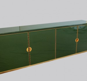 Italian enameled  Emerald Green cabinet with brass details,1970