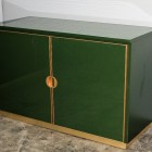 Italian small enamelled Emerald Green cabinets, brass details with chest of drawers, 1970