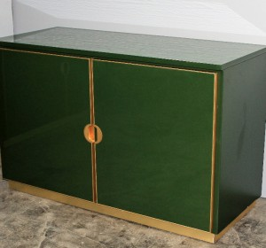 Italian  enamelled Emerald Green cabinets, brass details with chest of drawers, 1970
