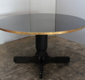 Italian midcentury round  Black glass table with brass and wood details