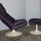 Violet Disc Base Model F585 Armchair and Ottoman Set by Geoffrey D.Harcourt for Artifort, 1960s